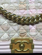 AUTH CHANEL PINK TWEED WOOD BOY LIMITED EDITION MEDIUM LEATHER BAG GHW image 4