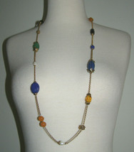 Vintage Ralph Lauren Long NECKLACE- Carved SEMI-PRECIOUS STONES+PEARLS-NEW w/TAG - $14.85