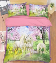 3D Lake Unicorns Bed Pillowcases Quilt Duvet Cover Set Single Queen King Size AU - $90.04+