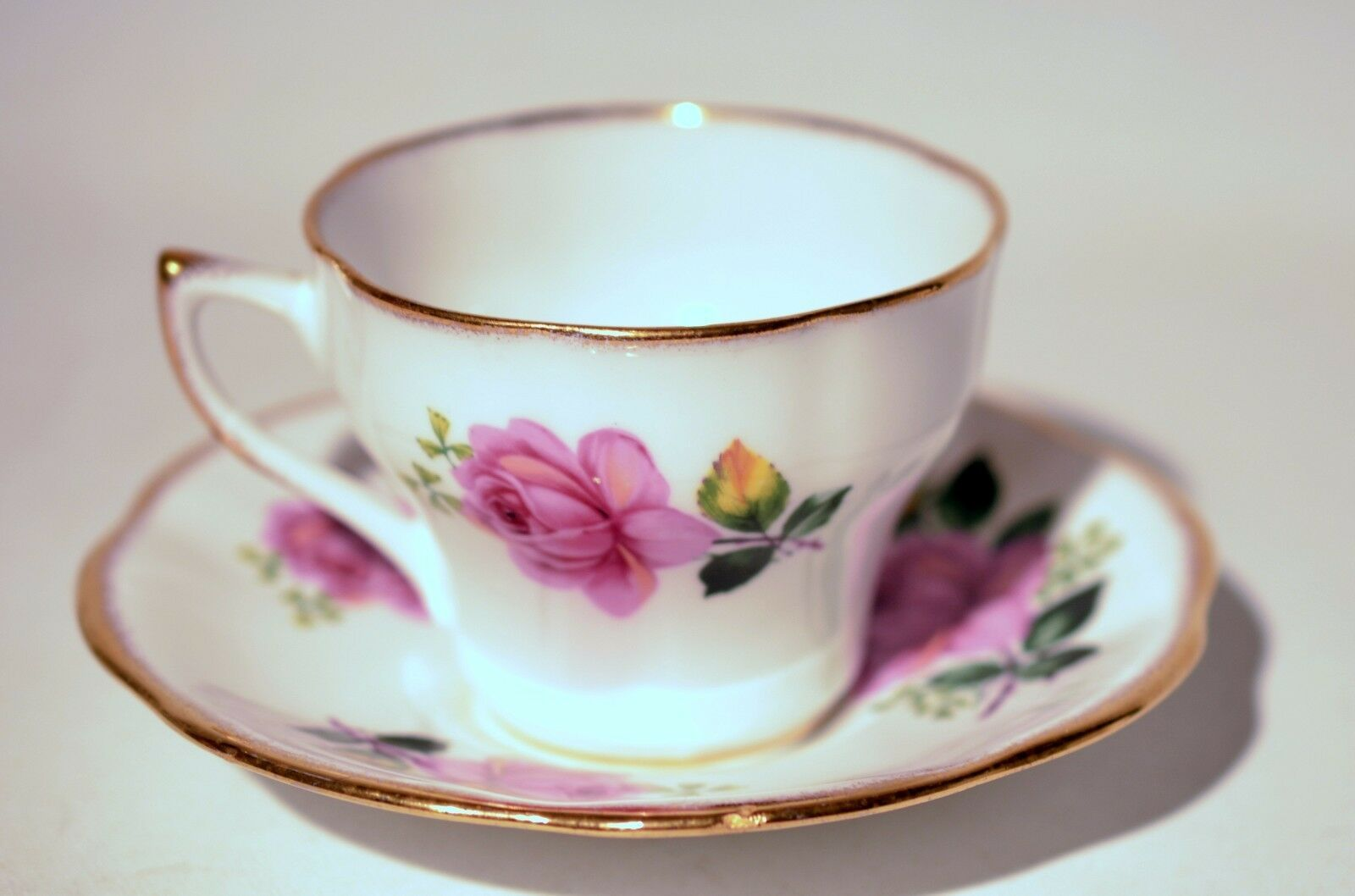 Primary image for Rosina Bone China Tea Cup & Saucer Set Roses Gold Trim England