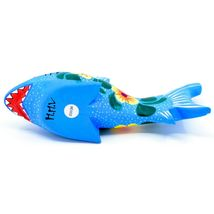 Handmade Alebrijes Oaxacan Painted Wood Folk Art Flower Shark Figurine image 5