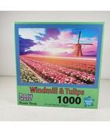 "1000 Piece Jigsaw Puzzle 'Windmill & Tulips' Dutch Holland Scene, 27"" x ... - $16.00"