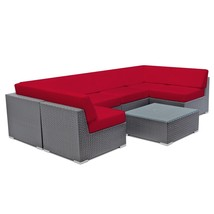 Patio Wicker Sofa Set Outdoor Sectional Couch Rattan Lounge &Tempered Gl... - $1,169.00