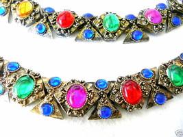 Vintage 80s 90s Multi Color Crystal Necklace & Bracelet - $75.96