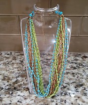 """Lani signed Beaded Necklace Green Blue and Gold Tone 20"""" - $6.00"""