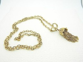 VTG KRAMER Signed Gold Tone Chain Tassel Choker Necklace - $29.70