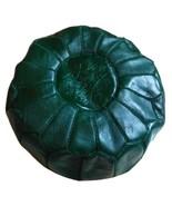 Moroccan Leather Pouf Ottoman Luxury Pouffe Dark Deep Green Pouf Footsto... - $79.00