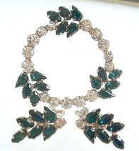B. David Demi, Emerald Green Brooch and Earrings, 1952 - $12.99