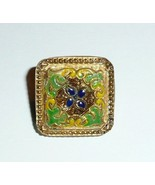 Beautiful Flower Motif Vintage Czech Square Glass Shank Button Green Yel... - $4.15