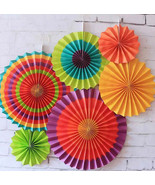 12 Vibrant Bright Colors Hanging Paper Fans Cinco De Mayo Celebration De... - $10.36