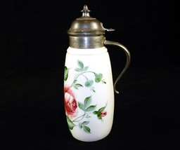 Antique Milk Glass Syrup Pitcher, Rose Pattern, Pewter Lid, Marked 1887 ... - $78.35