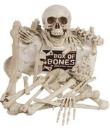 Box Of Bones 30 Pc Set With Skull, Flexible Jaw, Skeleton Bones Hallowee... - $33.90