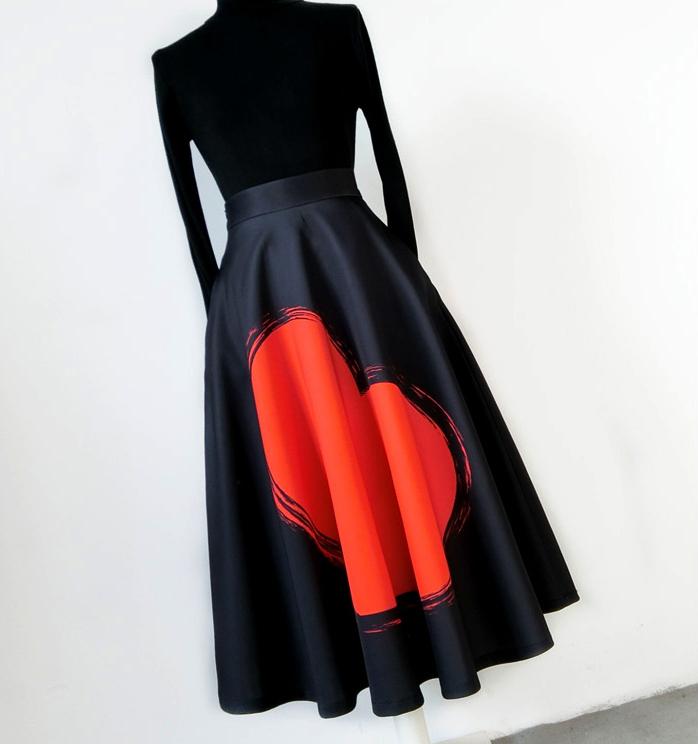 Women's High Waist A-line Circle Skirt Black Pleated Party Skirt Animal Pattern