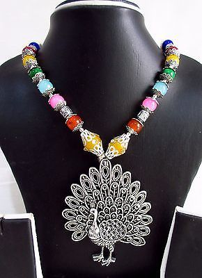 Indian Bollywood Style Oxidized Pendant Pearls Necklace Women's Fashion Jewelry