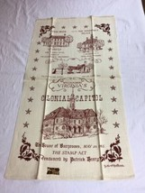 VTG NOS Kay Dee Williamsburg Virginia Colonial Capital Linen AMERICANA T... - $7.99