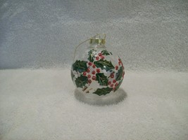 Clear Glass Christmas Ball Ornament Holly and Berry Hand Painted Glitter... - $14.85