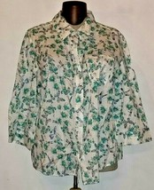 Karen Scott Women's Button Up 3/4 Sleeve Shirt Plus Size 3x Cotton Butto... - $12.99