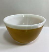 Pyrex 407 Small Nesting Bowl Solid Mustard Yellow White Rim 1 1/2 Pt - $29.95
