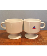 VTG (2) Delta Airlines White Ceramic Pedestal Coffee CUP Aviation Footed... - $19.34