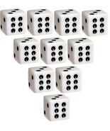 Set of 10 Six Sided D6 16mm Standard Square Edged Dice Die White With Bl... - $5.99