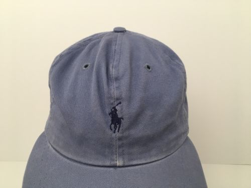 e584a619446 Vintage Polo Pony Ralph Lauren Hat Cap Blue Cotton Strapback Made In The USA
