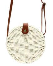 Women's White Vegan Bohemian Woven Handbag Wicker Canteen Lined Boho Chic Purse image 3