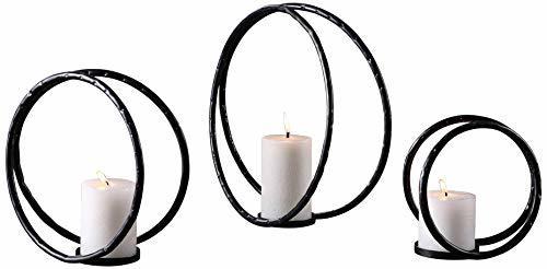 Uttermost Pina Aged Black 3-Piece Pillar Candle Holder Set