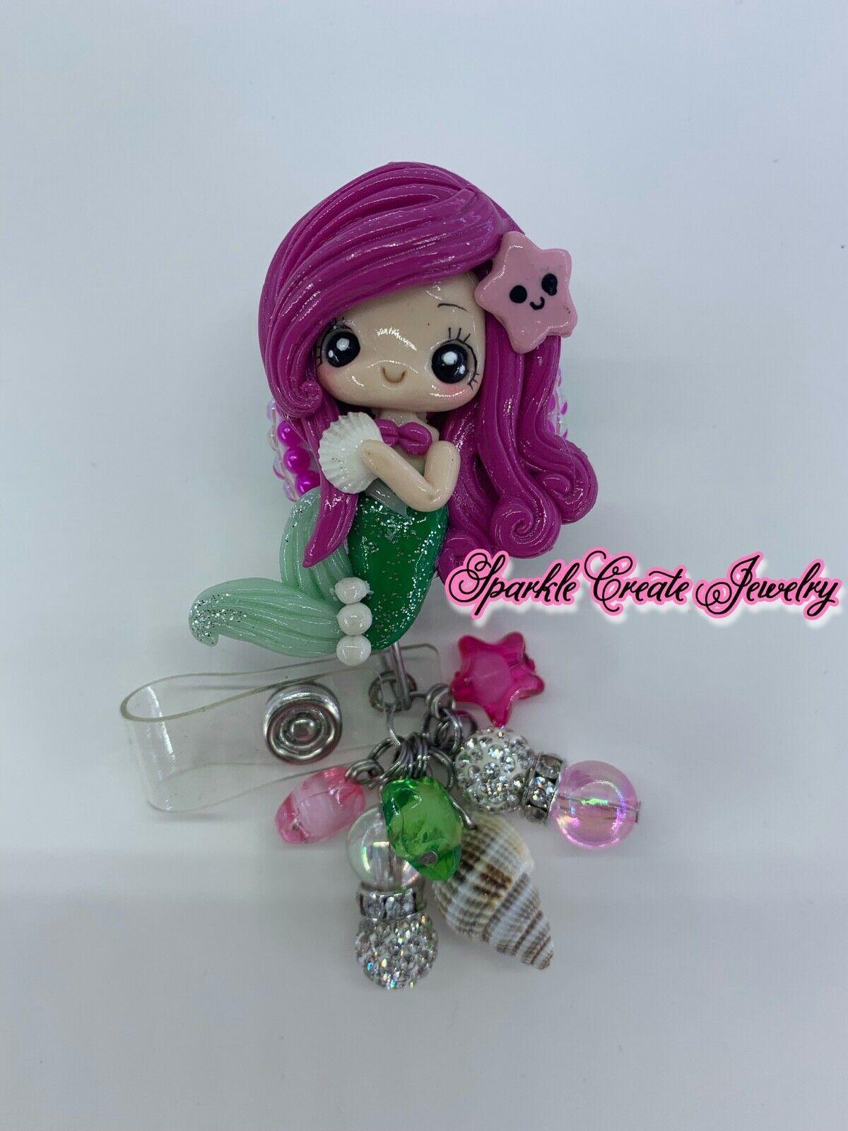 Princess Ariel Clay Retractable Badge Reel