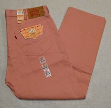 NWT Levi's 501XX Button Fly Shrink To Fit Raw Unwashed Denim Pink size 40x30 NEW - $32.74