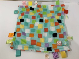 Taggies Blue Green aqua colorful squares Baby Security Blanket Bright st... - $8.90