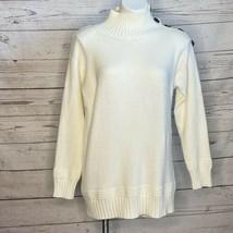 Anthropologie Cream Long Tunic Sweater Split Button Down Neck Side Slit ... - $37.39