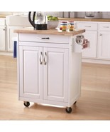 Mainstays Kitchen Island Rolling Cart Storage Shelf Drawer Rack Solid Wood Top - $207.87