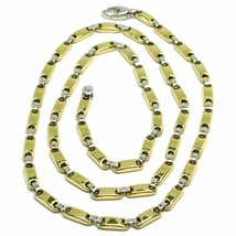 Gold chain in yellow and white 18k jersey oval and pipes, thickness 3.5mm - $2,426.42