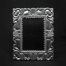 Vintage Mexican Pewter Picture Photo Frame Fans Swirls  - $46.74
