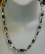 Vintage Hematite & Clear & Crystal Glass Bead Necklace Heavy - $37.62