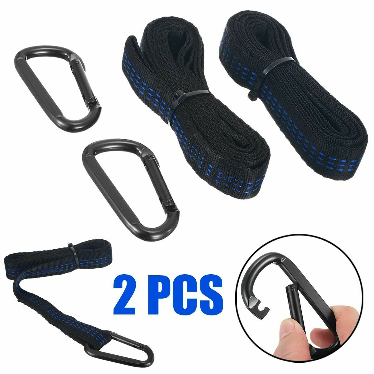 2 Pcs Adjustable Tree Hanging Belt Hammock Straps 2 Pcs Buckles Camping Outdoor