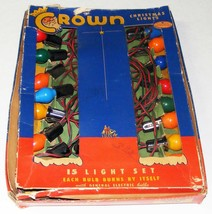 Vintage C-7 CROWN Christmas Lights with 15 Bulbs IOB - $19.99