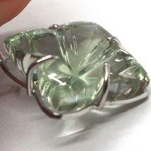 Pendientes Colgantes de Oro Blanco 18K, Diamantes,Prasiolita,Corazones,Flores image 4