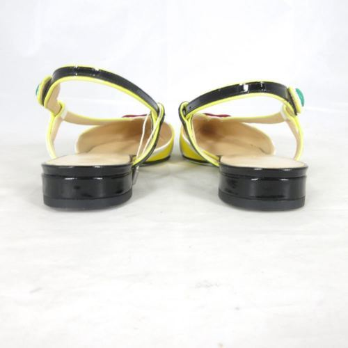 37 / 6.5 US - GIANNICO Striped Patent Leather Contrast LOLITA Flats NEW 1014ES