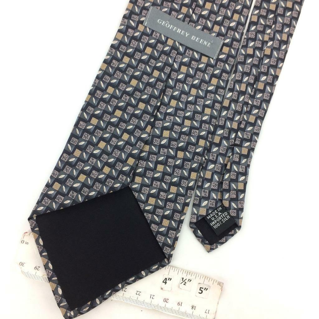 GEOFFREY BEENE Made In USA TIE CHECKERED Oval GRAY Tan Silk Necktie Ties I10-276 image 3
