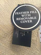 "Gold Metallic Embroidered Lumbar Pillow Fieldcrest 12"" x 18"" Feather Down Fill image 4"