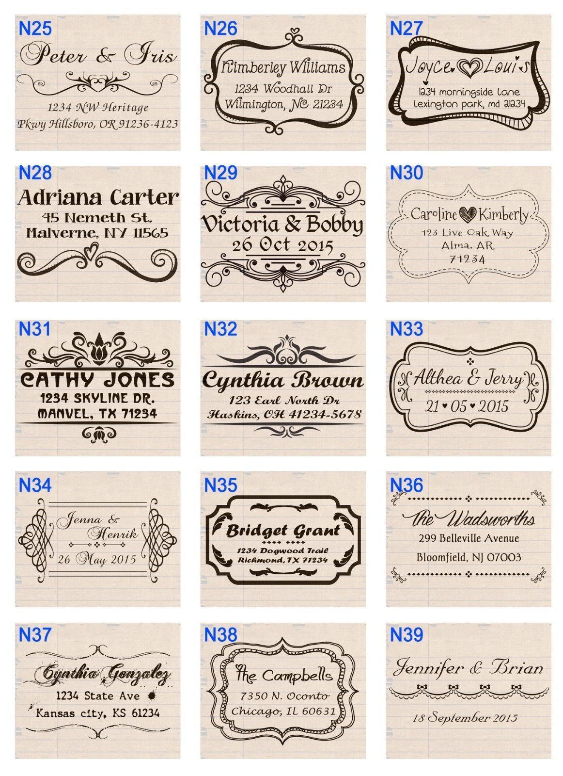 custom pre self inking personalized family wedding return address rubber stamp