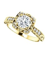 1.00 Carat Ideal Cut Diamond Solitaire Halo Ring in 14k Gold  - $2,695.00