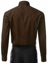 Berlioni Italy Men's Long Sleeve Solid Regular Fit Brown Dress Shirt - M image 3