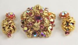D&E JULIANA DELIZZA ELSTER PINK RHINESTONE VENUS FLAME SET EARRINGS & BR... - $125.00