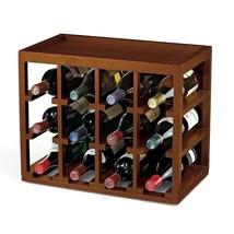 Walnut Finish Wooden Wine Rack Storage Holds 12 Bottles Standing Table V... - $92.96
