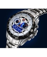 TVG Stainless Steel Men's Fashion Blue Binary LED Watch 30AM Water Resis... - $43.54