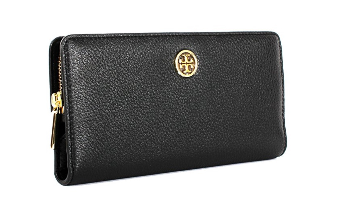 Tory Burch Landon Leather Hidden Zip Continental Wallet (Black)