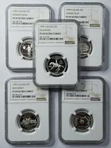1999S Proof 25c Silver Statehood 5 Quarter Coin Set NGC PF69 Ultra Cameo SKU C7
