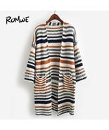 ROMWE Striped Textured Knit Longline Cardigan Sweater Ladies Striped V N... - $44.99